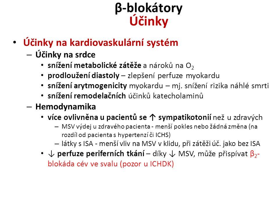 β-blokátory Účinky Účinky na kardiovaskulární systém – Účinky na srdce snížení metabolické zátěže a nároků na O 2 prodloužení diastoly – zlepšení perf