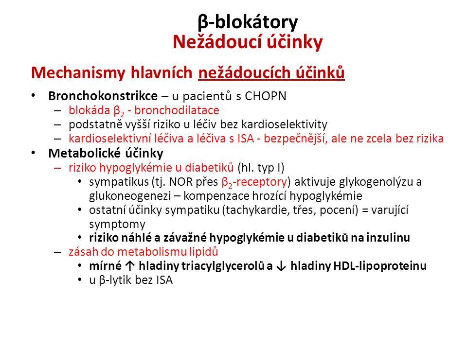 β-blokátory Nežádoucí účinky Mechanismy hlavních nežádoucích účinků Bronchokonstrikce – u pacientů s CHOPN – blokáda β 2 - bronchodilatace – podstatně