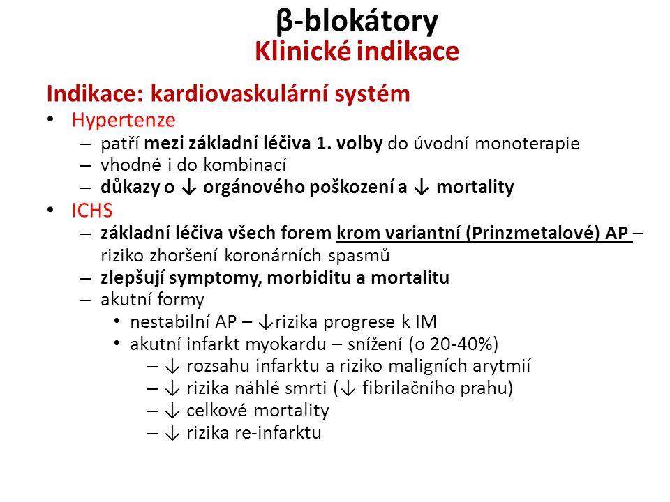 β-blokátory Klinické indikace Indikace: kardiovaskulární systém Hypertenze – patří mezi základní léčiva 1. volby do úvodní monoterapie – vhodné i do k