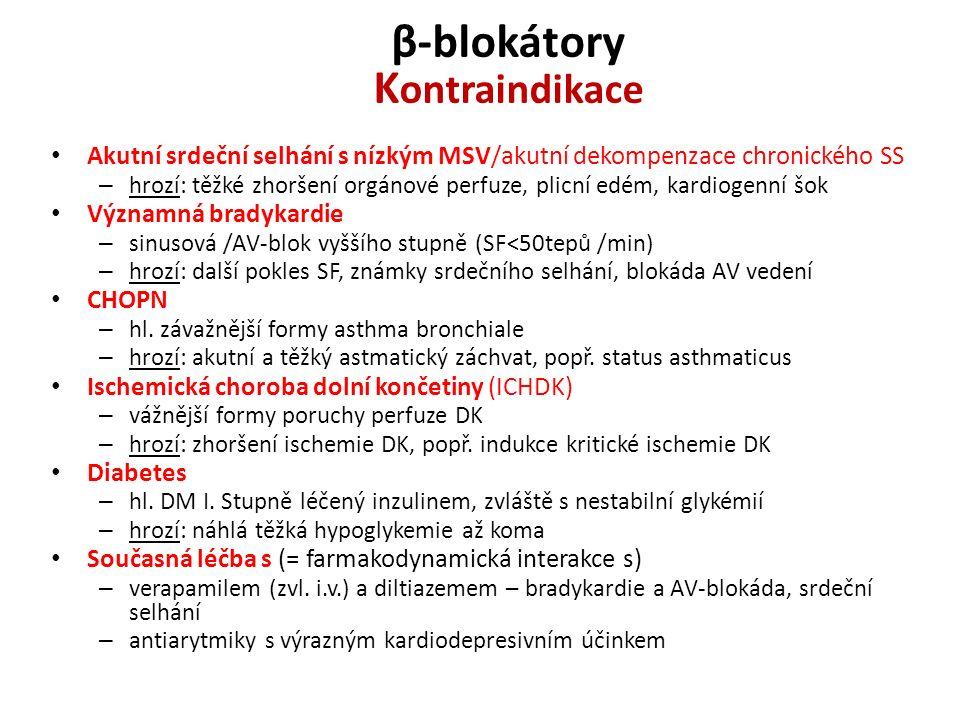 β-blokátory K ontraindikace Akutní srdeční selhání s nízkým MSV/akutní dekompenzace chronického SS – hrozí: těžké zhoršení orgánové perfuze, plicní ed