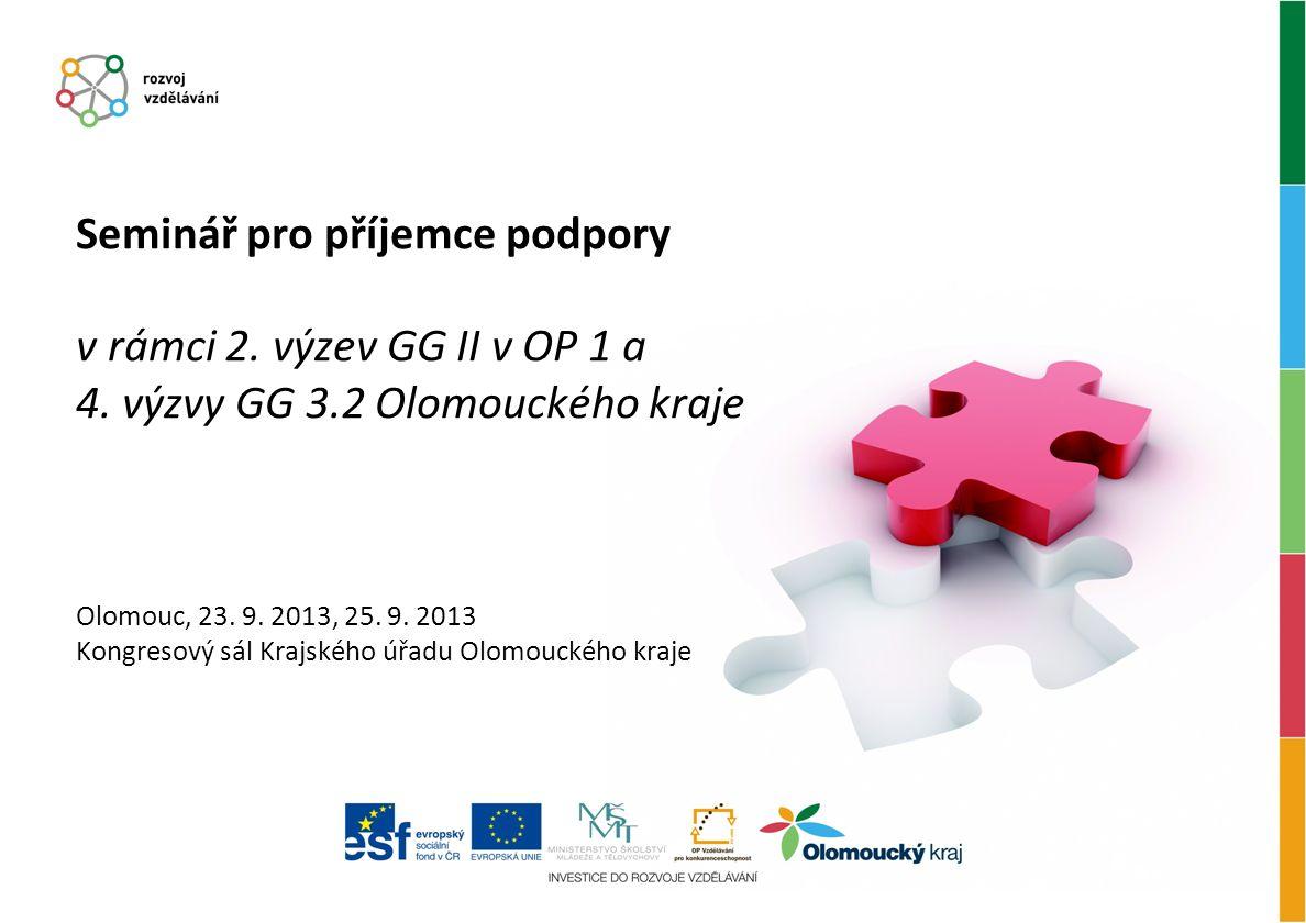 Seminář pro příjemce podpory v rámci 2. výzev GG II v OP 1 a 4.