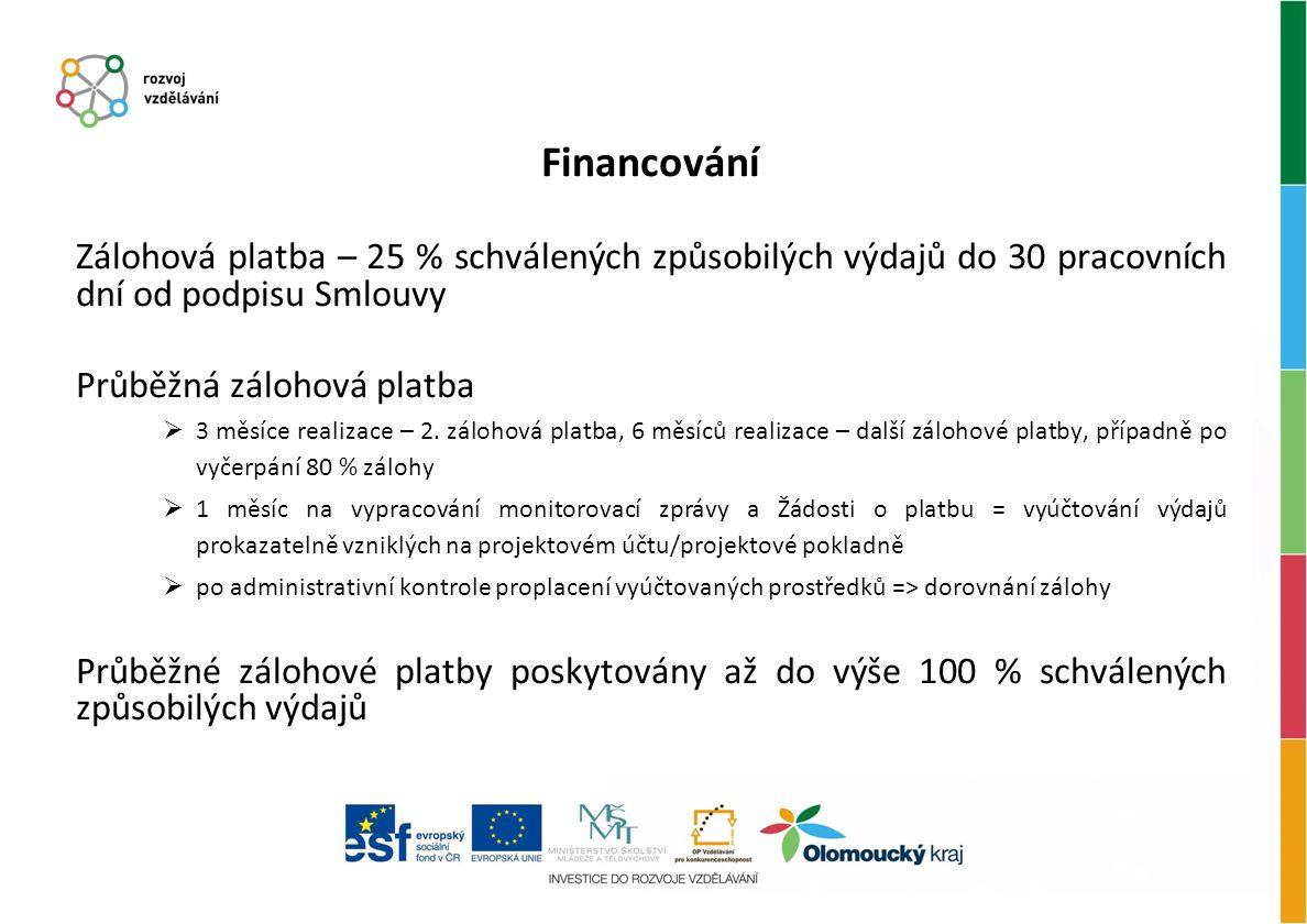 Financování Zálohová platba – 25 % schválených způsobilých výdajů do 30 pracovních dní od podpisu Smlouvy Průběžná zálohová platba  3 měsíce realizace – 2.