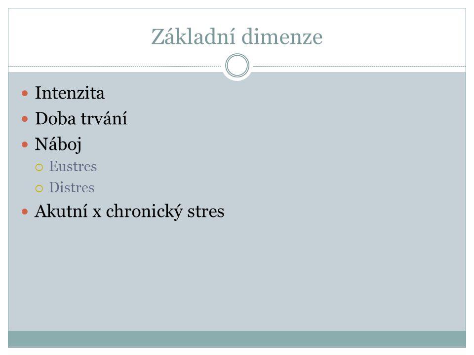 Základní dimenze Intenzita Doba trvání Náboj  Eustres  Distres Akutní x chronický stres