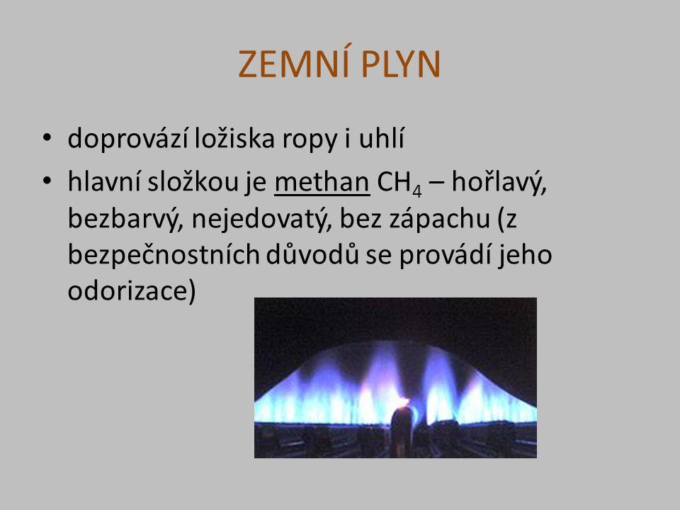 ZEMNÍ PLYN doprovází ložiska ropy i uhlí hlavní složkou je methan CH 4 – hořlavý, bezbarvý, nejedovatý, bez zápachu (z bezpečnostních důvodů se provádí jeho odorizace)