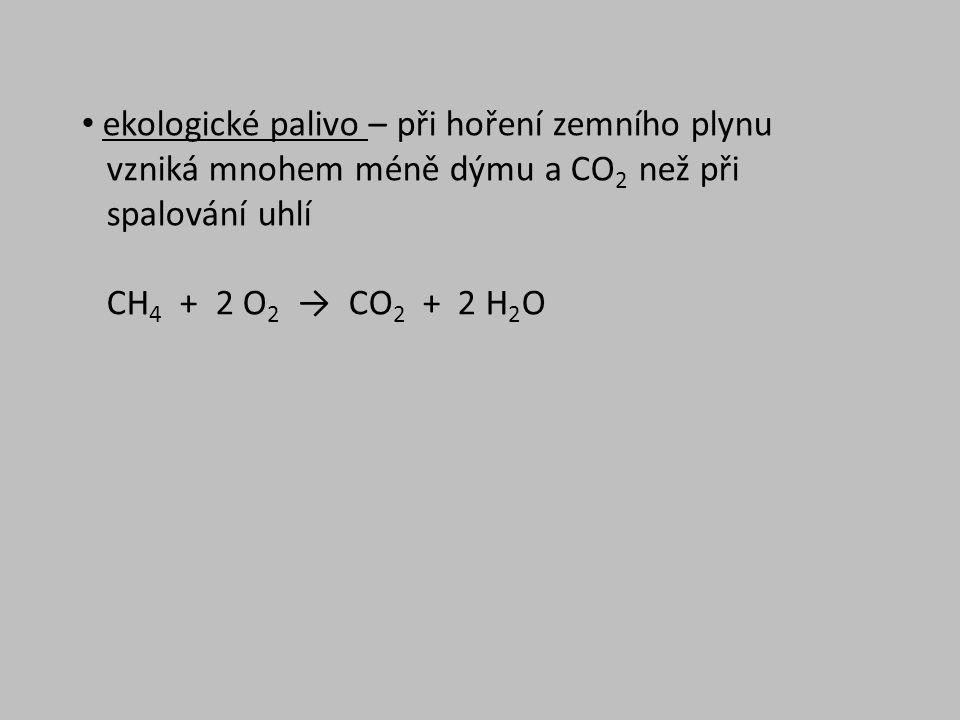 ekologické palivo – při hoření zemního plynu vzniká mnohem méně dýmu a CO 2 než při spalování uhlí CH 4 + 2 O 2 → CO 2 + 2 H 2 O