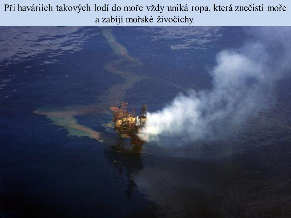 Při haváriích takových lodí do moře vždy uniká ropa, která znečistí moře a zabíjí mořské živočichy.