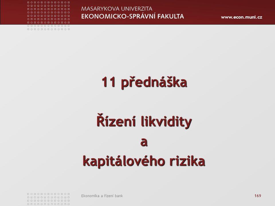 www.econ.muni.cz Ekonomika a řízení bank 169 11 přednáška Řízení likvidity a kapitálového rizika