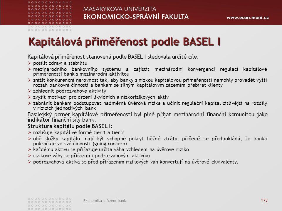 www.econ.muni.cz Ekonomika a řízení bank 172 Kapitálová přiměřenost podle BASEL I Kapitálová přiměřenost stanovená podle BASEL I sledovala určité cíle.