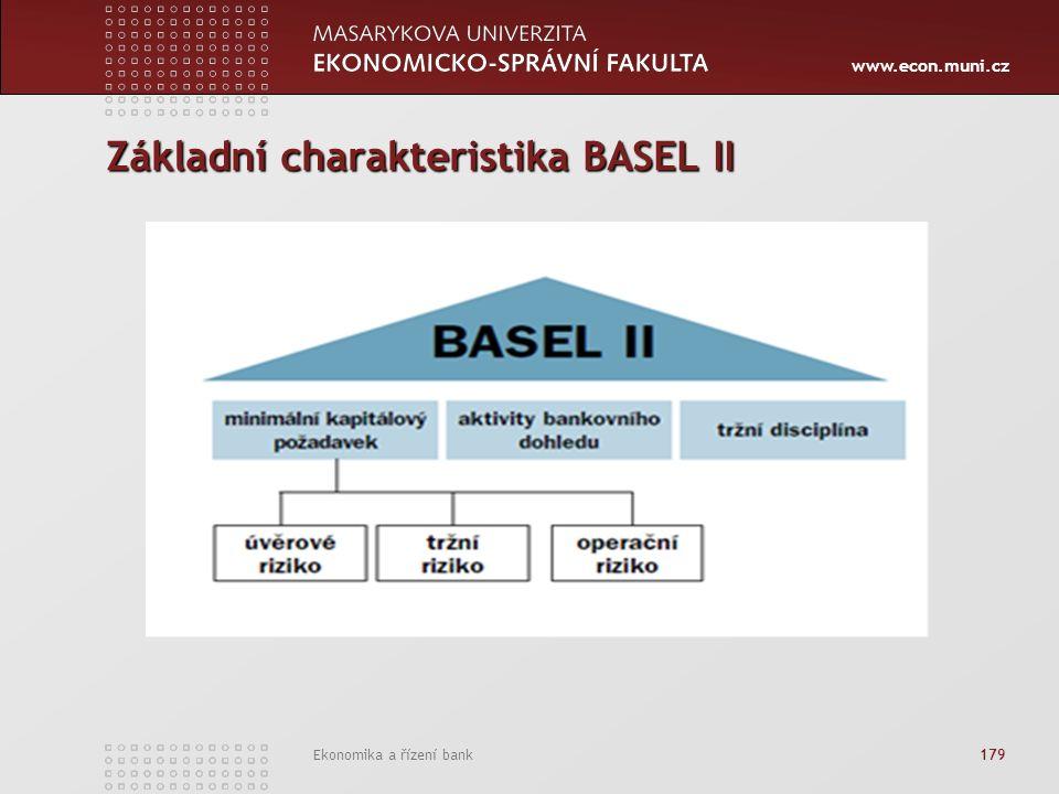 www.econ.muni.cz Ekonomika a řízení bank 179 Základní charakteristika BASEL II