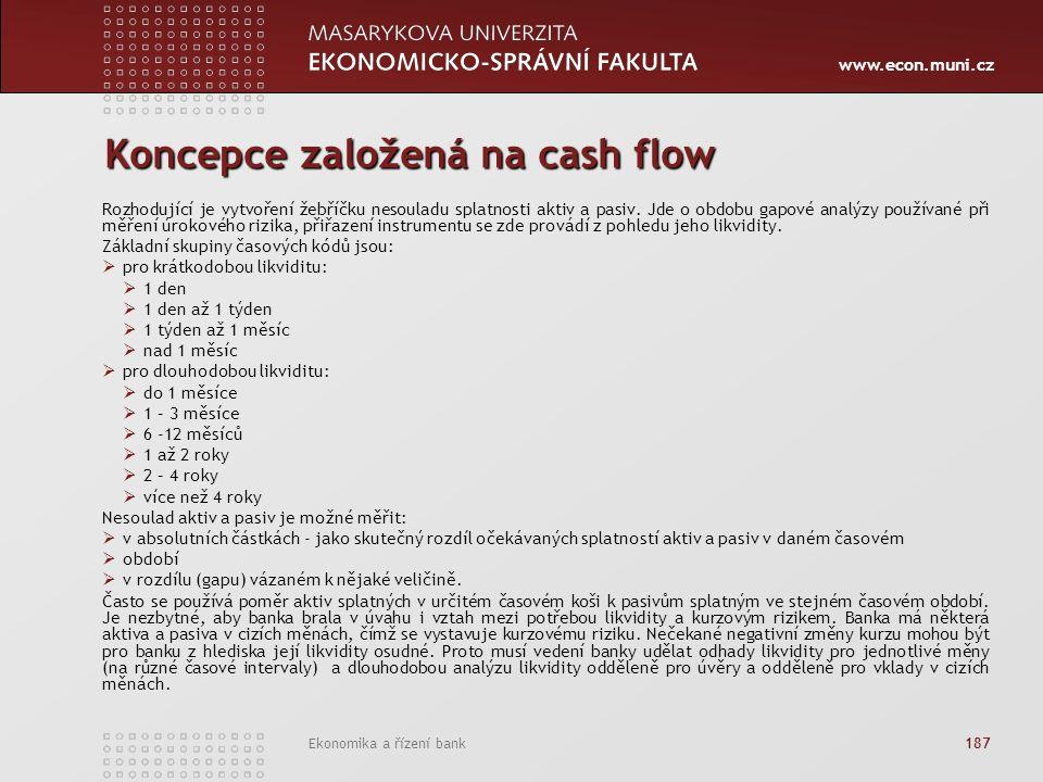 www.econ.muni.cz Ekonomika a řízení bank 187 Koncepce založená na cash flow Rozhodující je vytvoření žebříčku nesouladu splatnosti aktiv a pasiv.
