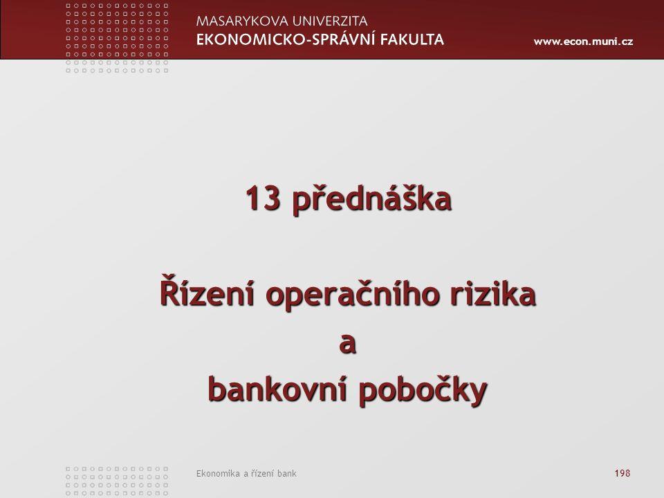 www.econ.muni.cz Ekonomika a řízení bank 198 13 přednáška Řízení operačního rizika a bankovní pobočky