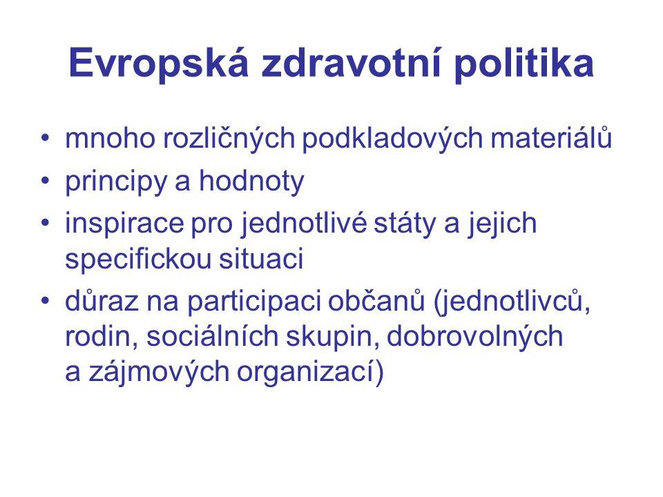 Evropská zdravotní politika mnoho rozličných podkladových materiálů principy a hodnoty inspirace pro jednotlivé státy a jejich specifickou situaci důraz na participaci občanů (jednotlivců, rodin, sociálních skupin, dobrovolných a zájmových organizací)