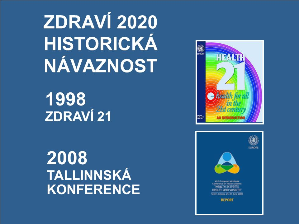 ZDRAVÍ 2020 HISTORICKÁ NÁVAZNOST 1998 ZDRAVÍ 21 2008 TALLINNSKÁ KONFERENCE