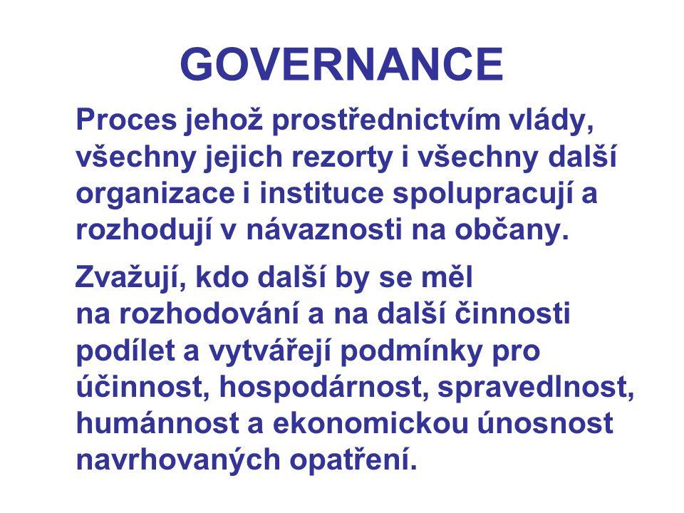 GOVERNANCE Proces jehož prostřednictvím vlády, všechny jejich rezorty i všechny další organizace i instituce spolupracují a rozhodují v návaznosti na občany.