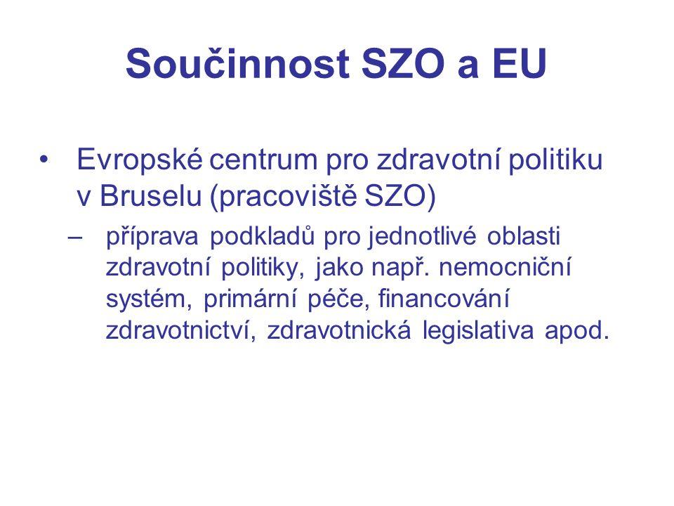 Součinnost SZO a EU Evropské centrum pro zdravotní politiku v Bruselu (pracoviště SZO) –příprava podkladů pro jednotlivé oblasti zdravotní politiky, jako např.