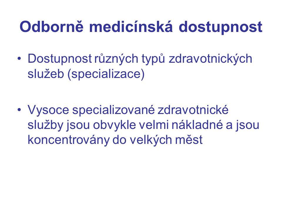 Odborně medicínská dostupnost Dostupnost různých typů zdravotnických služeb (specializace) Vysoce specializované zdravotnické služby jsou obvykle velmi nákladné a jsou koncentrovány do velkých měst