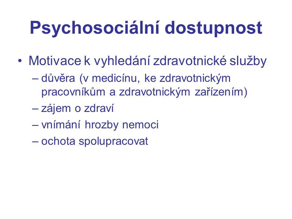Psychosociální dostupnost Motivace k vyhledání zdravotnické služby –důvěra (v medicínu, ke zdravotnickým pracovníkům a zdravotnickým zařízením) –zájem o zdraví –vnímání hrozby nemoci –ochota spolupracovat