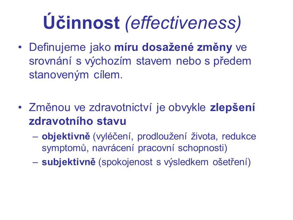 Účinnost (effectiveness) Definujeme jako míru dosažené změny ve srovnání s výchozím stavem nebo s předem stanoveným cílem.