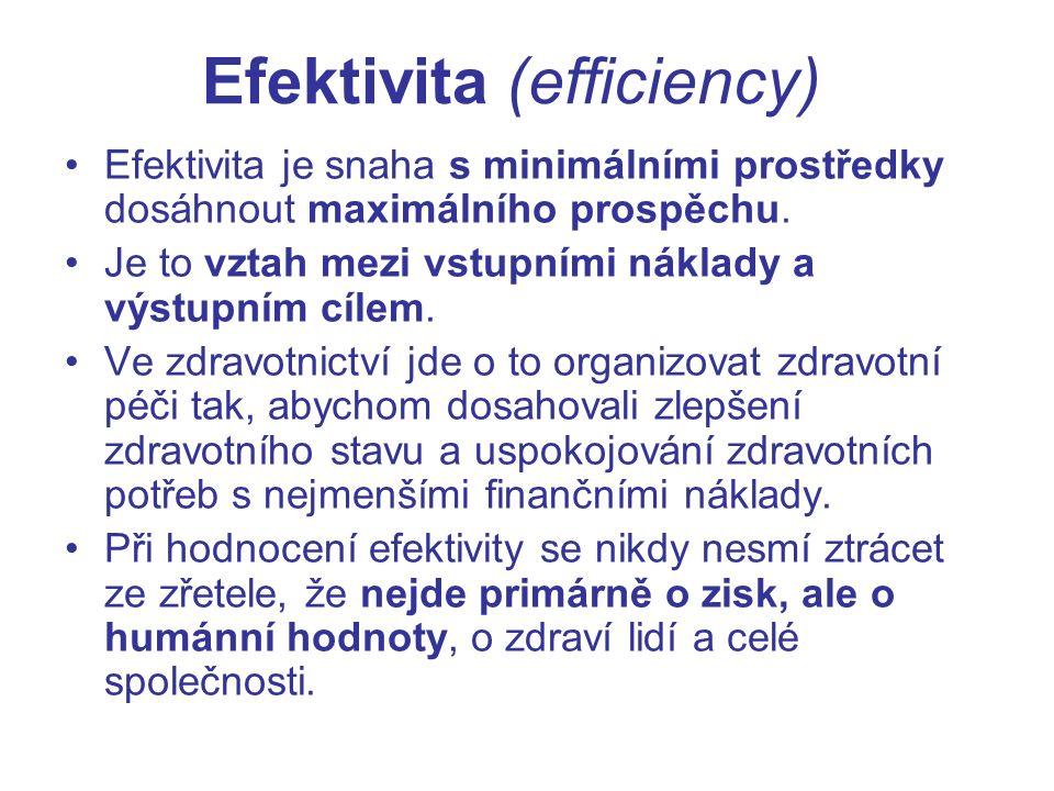 Efektivita (efficiency) Efektivita je snaha s minimálními prostředky dosáhnout maximálního prospěchu.