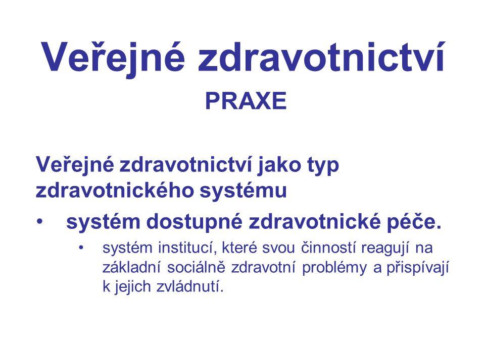 Veřejné zdravotnictví PRAXE Veřejné zdravotnictví jako typ zdravotnického systému systém dostupné zdravotnické péče.