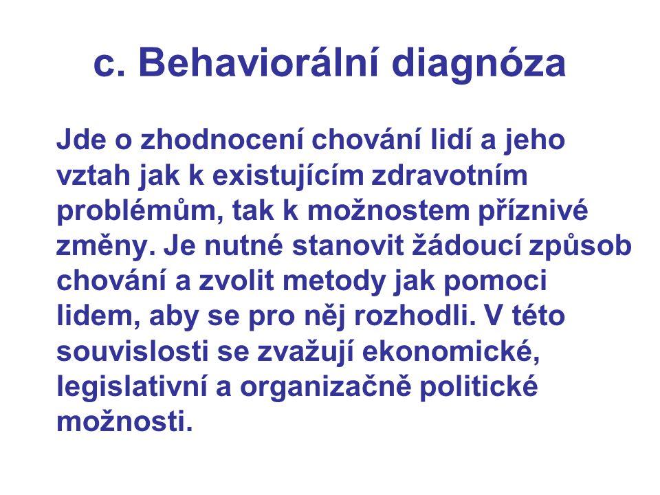 c. Behaviorální diagnóza Jde o zhodnocení chování lidí a jeho vztah jak k existujícím zdravotním problémům, tak k možnostem příznivé změny. Je nutné s