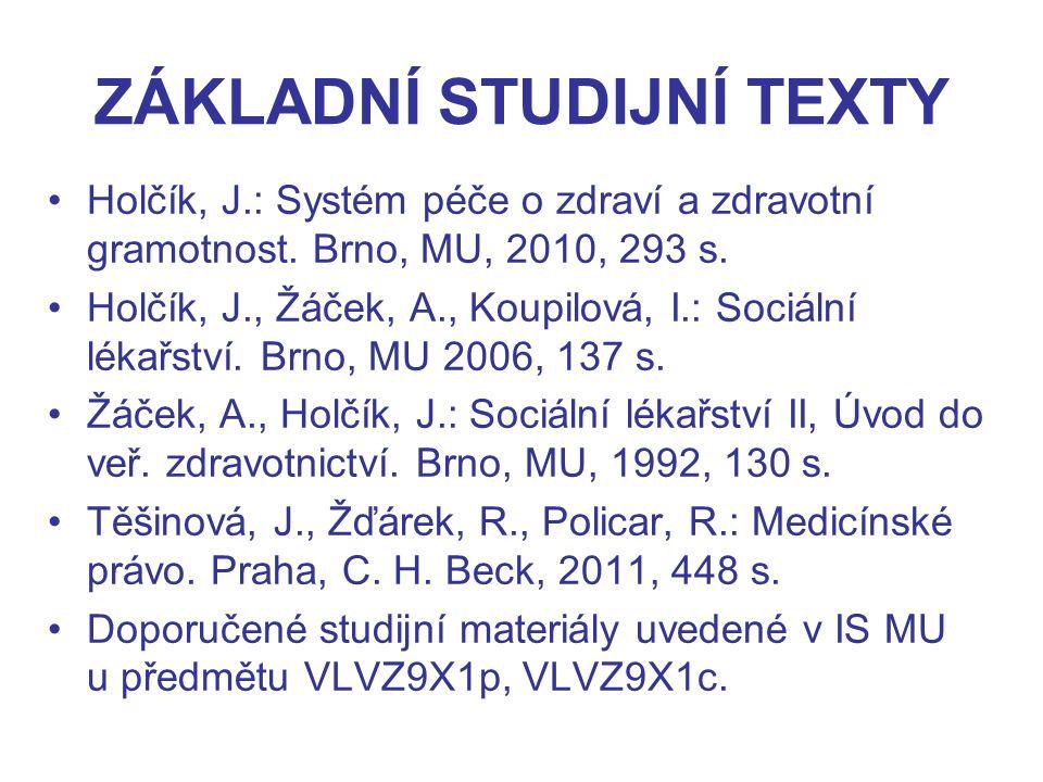 ZÁKLADNÍ STUDIJNÍ TEXTY Holčík, J.: Systém péče o zdraví a zdravotní gramotnost.