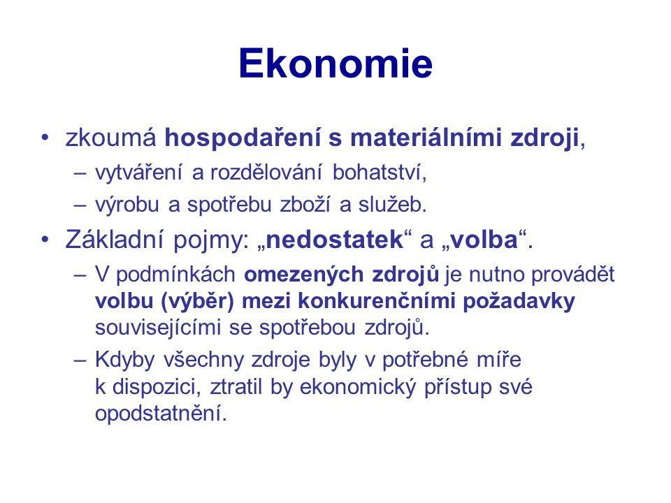 Ekonomie zkoumá hospodaření s materiálními zdroji, –vytváření a rozdělování bohatství, –výrobu a spotřebu zboží a služeb.