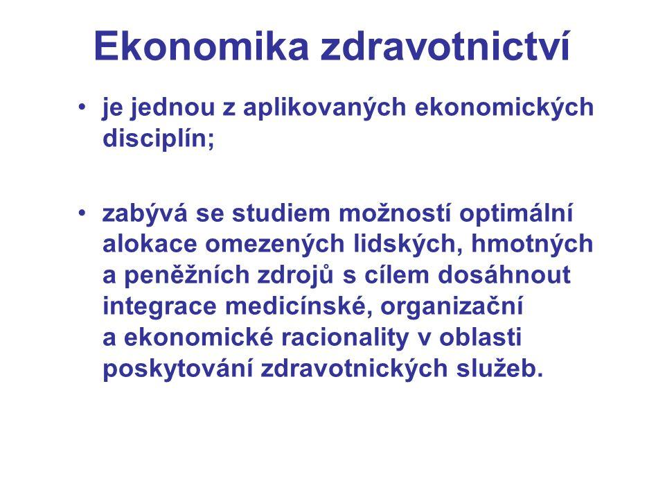 Ekonomika zdravotnictví je jednou z aplikovaných ekonomických disciplín; zabývá se studiem možností optimální alokace omezených lidských, hmotných a peněžních zdrojů s cílem dosáhnout integrace medicínské, organizační a ekonomické racionality v oblasti poskytování zdravotnických služeb.