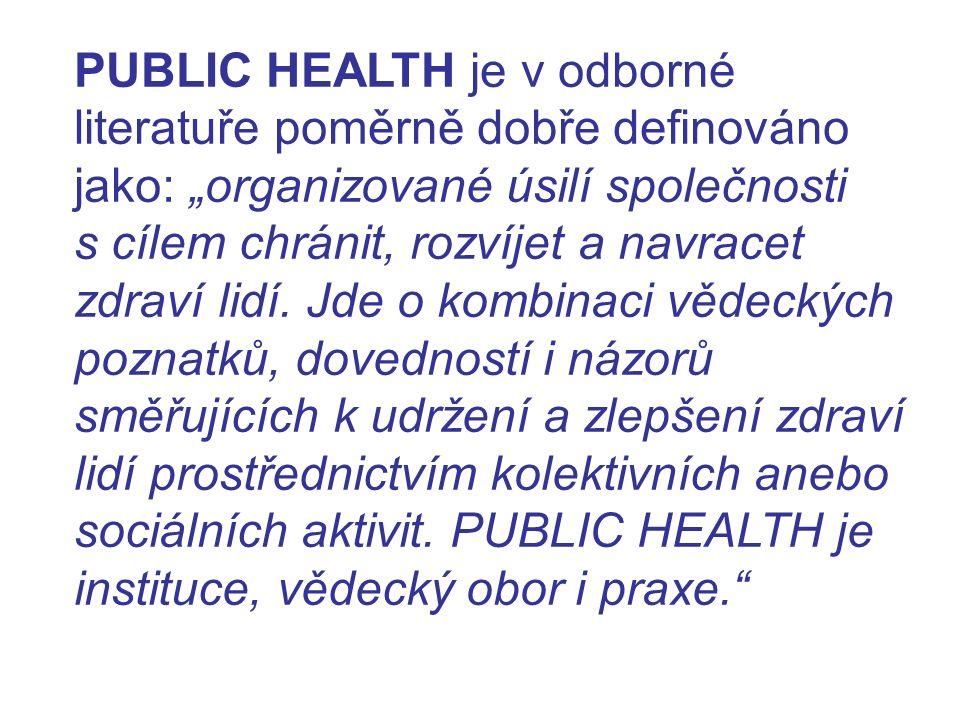 """PUBLIC HEALTH je v odborné literatuře poměrně dobře definováno jako: """"organizované úsilí společnosti s cílem chránit, rozvíjet a navracet zdraví lidí."""
