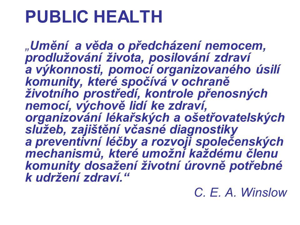 """PUBLIC HEALTH """" Umění a věda o předcházení nemocem, prodlužování života, posilování zdraví a výkonnosti, pomocí organizovaného úsilí komunity, které spočívá v ochraně životního prostředí, kontrole přenosných nemocí, výchově lidí ke zdraví, organizování lékařských a ošetřovatelských služeb, zajištění včasné diagnostiky a preventivní léčby a rozvoji společenských mechanismů, které umožní každému členu komunity dosažení životní úrovně potřebné k udržení zdraví. C."""