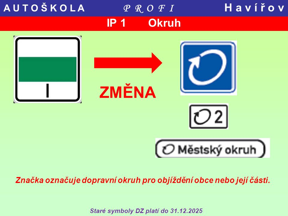 ZMĚNA Značka označuje dopravní okruh pro objíždění obce nebo její části. Staré symboly DZ platí do 31.12.2025 IP 1 Okruh A U T O Š K O L A P R O F I H