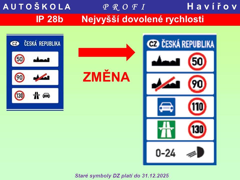 ZMĚNA Staré symboly DZ platí do 31.12.2025 IP 28b Nejvyšší dovolené rychlosti A U T O Š K O L A P R O F I H a v í ř o v