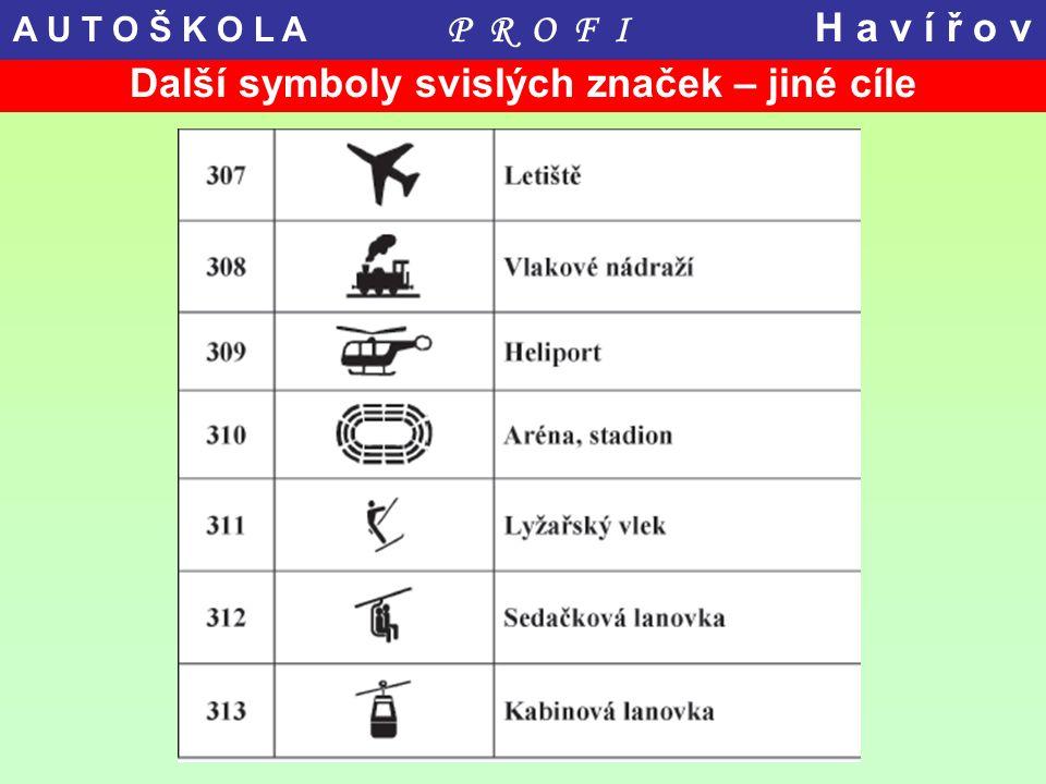 Další symboly svislých značek – jiné cíle A U T O Š K O L A P R O F I H a v í ř o v