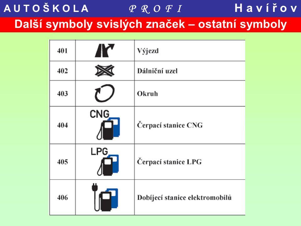 Další symboly svislých značek – ostatní symboly A U T O Š K O L A P R O F I H a v í ř o v