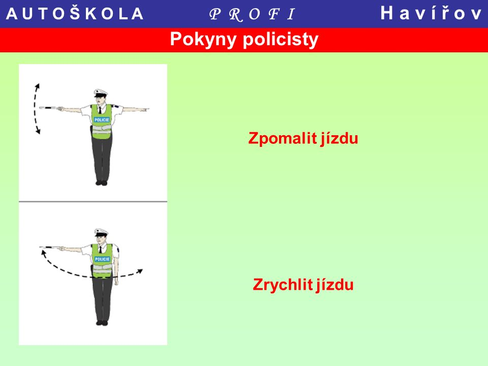 Pokyny policisty Zpomalit jízdu Zrychlit jízdu A U T O Š K O L A P R O F I H a v í ř o v