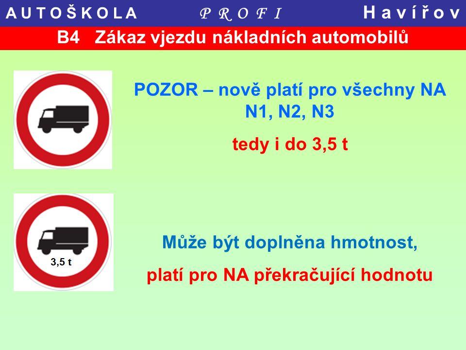 B4 Zákaz vjezdu nákladních automobilů POZOR – nově platí pro všechny NA N1, N2, N3 tedy i do 3,5 t Může být doplněna hmotnost, platí pro NA překračují
