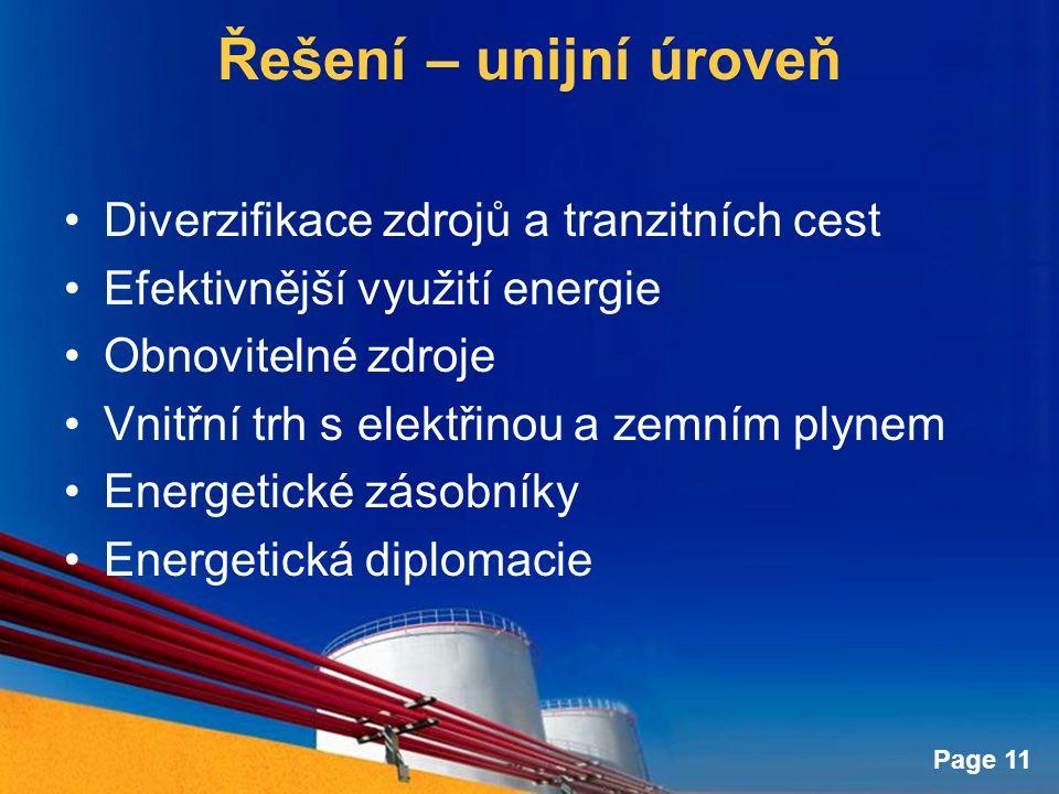 Page 11 Řešení – unijní úroveň Diverzifikace zdrojů a tranzitních cest Efektivnější využití energie Obnovitelné zdroje Vnitřní trh s elektřinou a zemním plynem Energetické zásobníky Energetická diplomacie