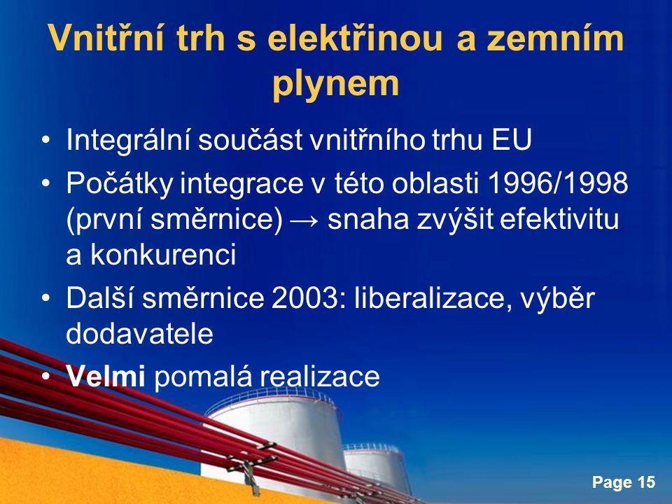 Page 15 Vnitřní trh s elektřinou a zemním plynem Integrální součást vnitřního trhu EU Počátky integrace v této oblasti 1996/1998 (první směrnice) → snaha zvýšit efektivitu a konkurenci Další směrnice 2003: liberalizace, výběr dodavatele Velmi pomalá realizace