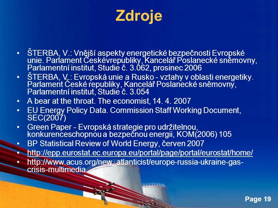 Page 19 Zdroje ŠTERBA, V.: Vnější aspekty energetické bezpečnosti Evropské unie.
