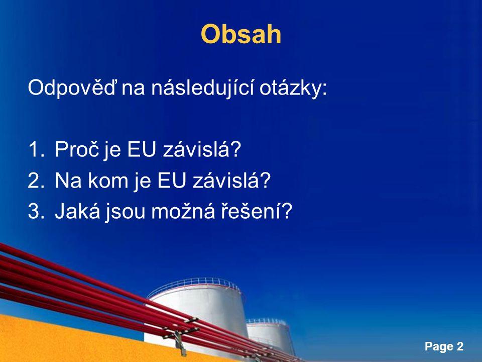 Page 2 Obsah Odpověď na následující otázky: 1.Proč je EU závislá? 2.Na kom je EU závislá? 3.Jaká jsou možná řešení?