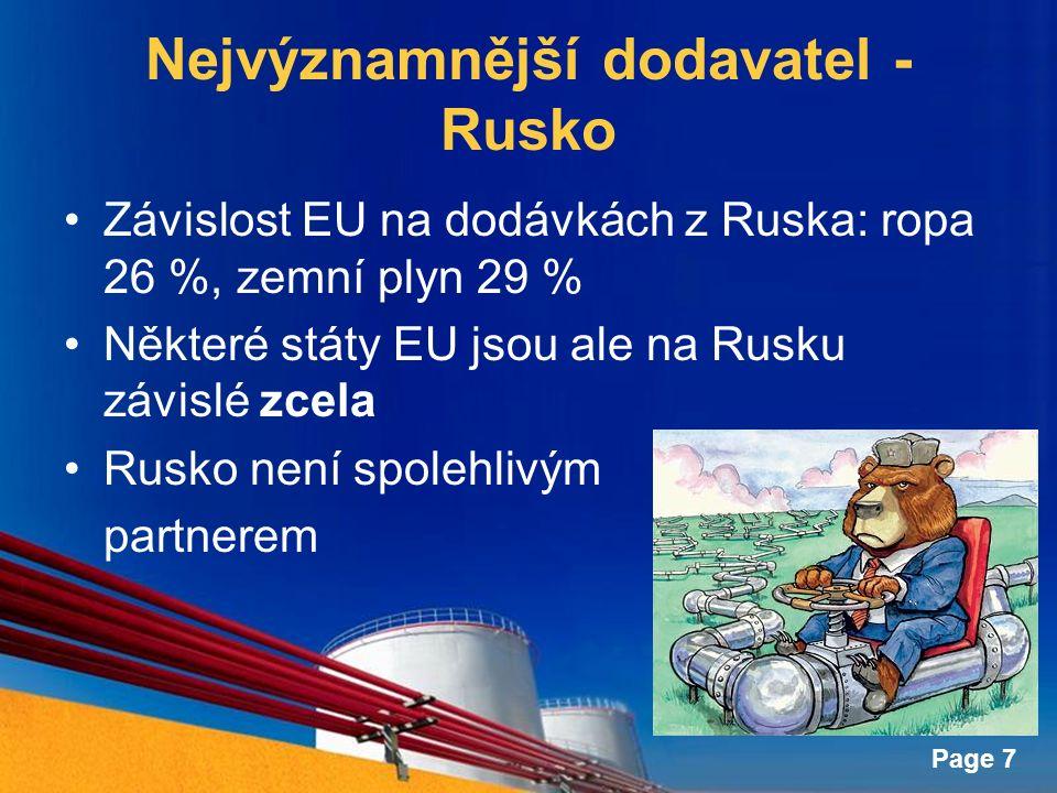 Page 7 Nejvýznamnější dodavatel - Rusko Závislost EU na dodávkách z Ruska: ropa 26 %, zemní plyn 29 % Některé státy EU jsou ale na Rusku závislé zcela