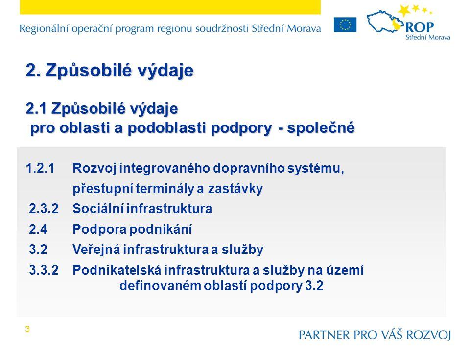 1.2.1Rozvoj integrovaného dopravního systému, přestupní terminály a zastávky 2.3.2Sociální infrastruktura 2.4Podpora podnikání 3.2Veřejná infrastruktura a služby 3.3.2Podnikatelská infrastruktura a služby na území definovaném oblastí podpory 3.2 3 2.1 Způsobilé výdaje pro oblasti a podoblasti podpory - společné pro oblasti a podoblasti podpory - společné 2.
