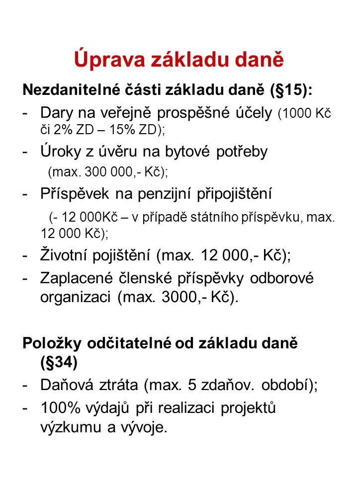 Úprava základu daně Nezdanitelné části základu daně (§15): -Dary na veřejně prospěšné účely (1000 Kč či 2% ZD – 15% ZD); -Úroky z úvěru na bytové potř