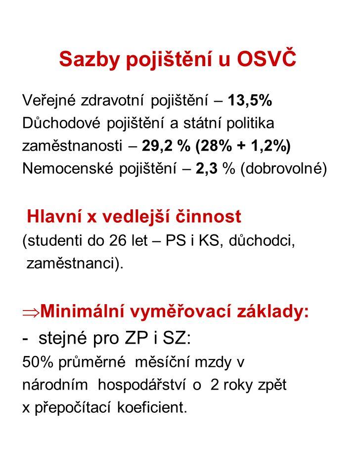 Sazby pojištění u OSVČ Veřejné zdravotní pojištění – 13,5% Důchodové pojištění a státní politika zaměstnanosti – 29,2 % (28% + 1,2%) Nemocenské pojišt