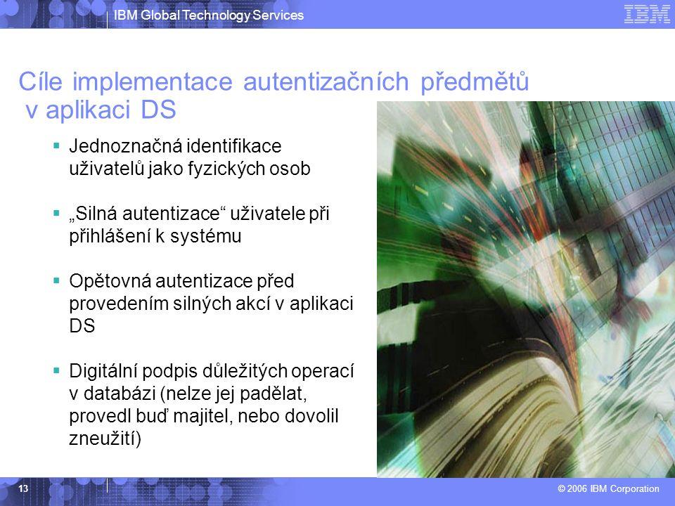 """IBM Global Technology Services © 2006 IBM Corporation 13 Cíle implementace autentizačních předmětů v aplikaci DS  Jednoznačná identifikace uživatelů jako fyzických osob  """"Silná autentizace uživatele při přihlášení k systému  Opětovná autentizace před provedením silných akcí v aplikaci DS  Digitální podpis důležitých operací v databázi (nelze jej padělat, provedl buď majitel, nebo dovolil zneužití)"""