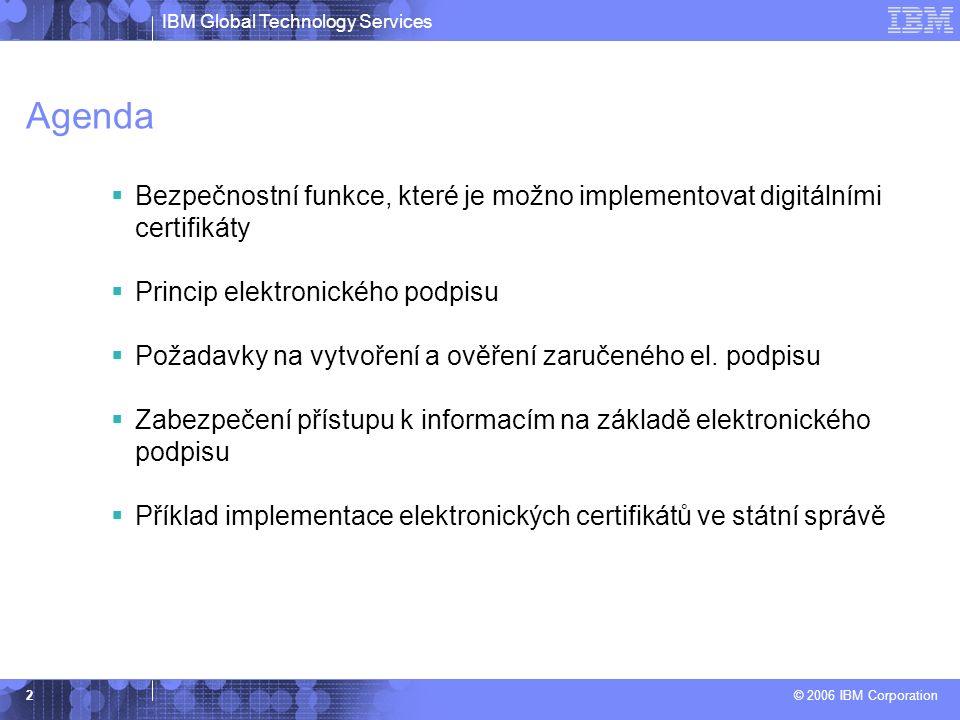 IBM Global Technology Services © 2006 IBM Corporation 2 Agenda  Bezpečnostní funkce, které je možno implementovat digitálními certifikáty  Princip elektronického podpisu  Požadavky na vytvoření a ověření zaručeného el.