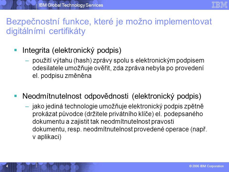 IBM Global Technology Services © 2006 IBM Corporation 4  Integrita (elektronický podpis) –použití výtahu (hash) zprávy spolu s elektronickým podpisem odesilatele umožňuje ověřit, zda zpráva nebyla po provedení el.