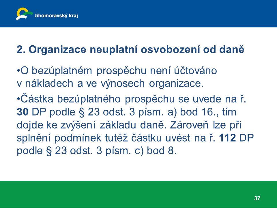 2. Organizace neuplatní osvobození od daně O bezúplatném prospěchu není účtováno v nákladech a ve výnosech organizace. Částka bezúplatného prospěchu s