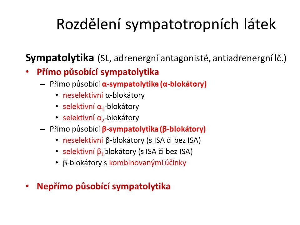 Rozdělení sympatotropních látek Sympatolytika (SL, adrenergní antagonisté, antiadrenergní lč.) Přímo působící sympatolytika – Přímo působící α-sympatolytika (α-blokátory) neselektivní α-blokátory selektivní α 1 -blokátory selektivní α 2 -blokátory – Přímo působící β-sympatolytika (β-blokátory) neselektivní β-blokátory (s ISA či bez ISA) selektivní β 1 blokátory (s ISA či bez ISA) β-blokátory s kombinovanými účinky Nepřímo působící sympatolytika