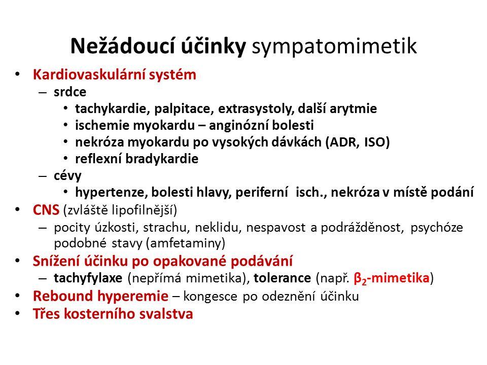 Nežádoucí účinky sympatomimetik Kardiovaskulární systém – srdce tachykardie, palpitace, extrasystoly, další arytmie ischemie myokardu – anginózní bolesti nekróza myokardu po vysokých dávkách (ADR, ISO) reflexní bradykardie – cévy hypertenze, bolesti hlavy, periferní isch., nekróza v místě podání CNS (zvláště lipofilnější) – pocity úzkosti, strachu, neklidu, nespavost a podrážděnost, psychóze podobné stavy (amfetaminy) Snížení účinku po opakované podávání – tachyfylaxe (nepřímá mimetika), tolerance (např.